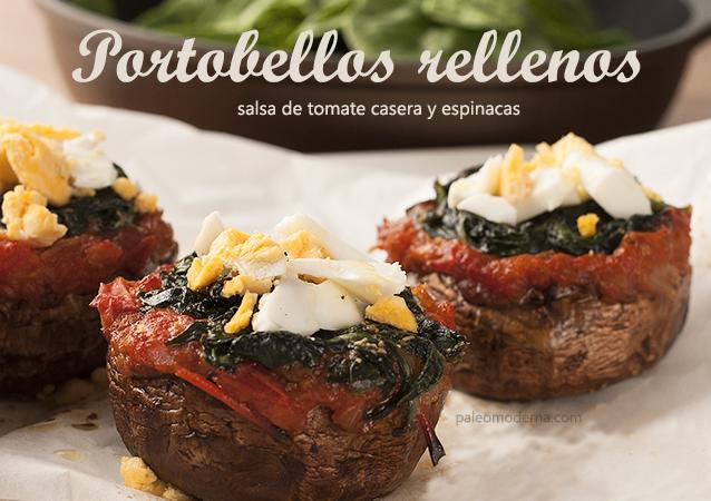 Portobellos rellenos de tomate y espinacas